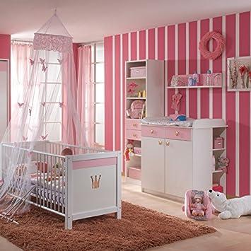 Babyzimmer Weiss Rosa Babybett Wickeltisch Hochregal Wandregal