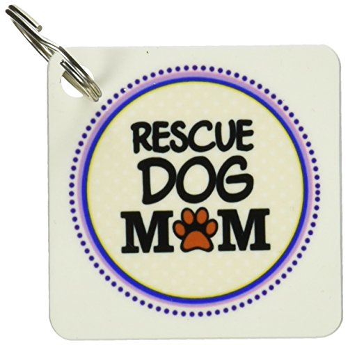 - 3dRose Rescue Dog Mom - Doggie mama by breed - paw print mum love - doggy lover - Key Chains, 2.25 x 2.25 inches, set of 4 (kc_151802_2)