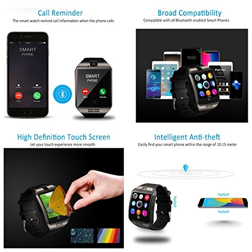 Bluetooth Smart Watch Touchscreen with Camera,Unlocked Watch Cell Phone with Sim Card Slot,Smart Wrist Watch,Waterproof Smartwatch Phone for Android Samsung IOS Iphone 7 6S Men Women Kids by Luckymore (Image #4)