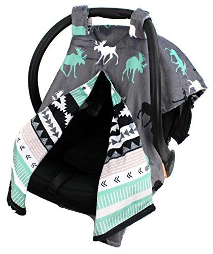 (Dear Baby Gear Deluxe Car Seat Canopy, Reversible Custom Minky Print Black, Grey, Mint Moose, Aztec Minky)