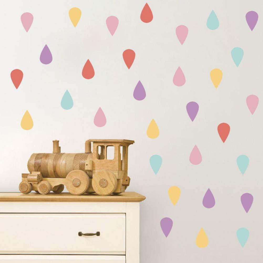 HULINJI Rainbow Colorful Dot Pegatinas de pared Calcomanías en forma de gota de agua Vivero Decoración para el hogar Impermeable PVC Pegatina para niños Kids Room Mural