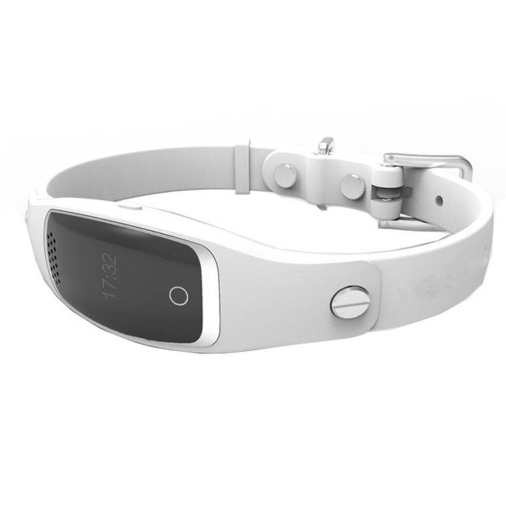 JUFENG Haustier-Verfolger, GPS-Verzeichnis, Intelligenter Monitor, Mini Wasserdichter Monitor,Weiß
