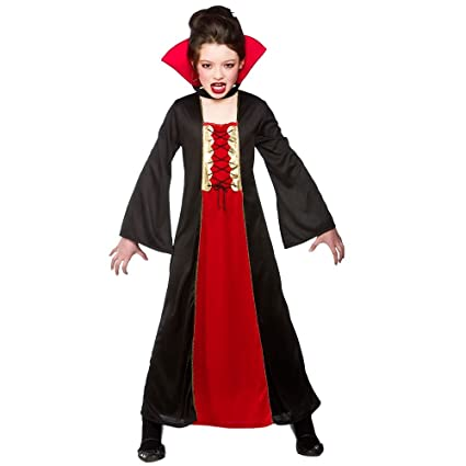 442193899647 Girls Gothic Vampiress  Kids Dracula Halloween Fancy Dress Costume ...
