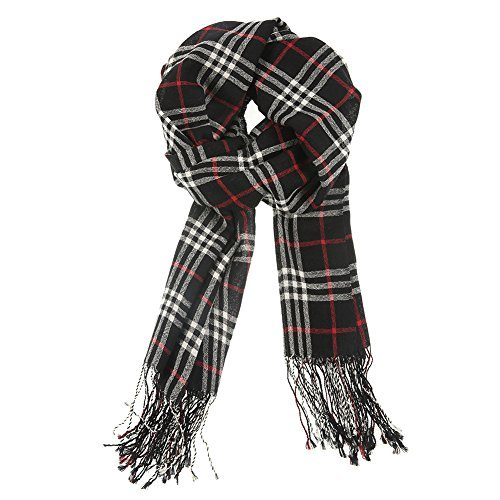 Xiuying Feng Winter Classic Cozy Warm Wool Lambswool Neutral Vintage Irish Tartan Plaid Long Scarf Shawl For Women (Black1)