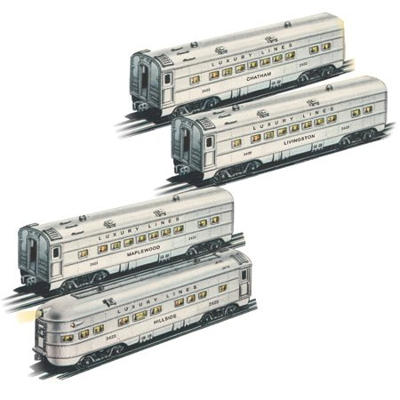 Streamliner 4 Car Set (Williams By Bachmann Luxury Lines Silver O27 O Scale Streamliner Car, Set of 4)