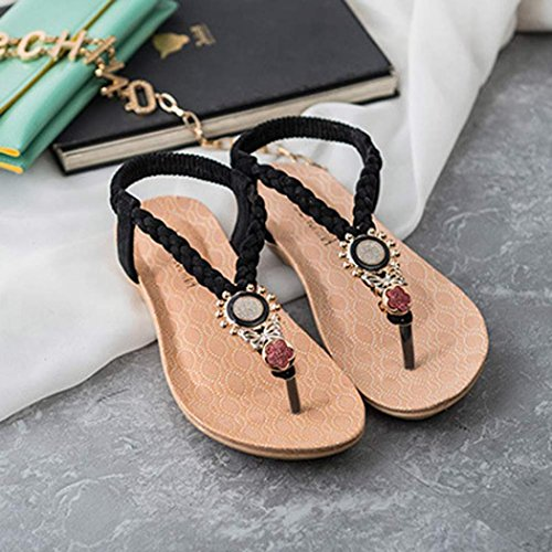 Sandalias del verano de las mujeres, Internet Zapatos con cuentas de Bohemia dulce clip del dedo del pie sandalias de playa Negro