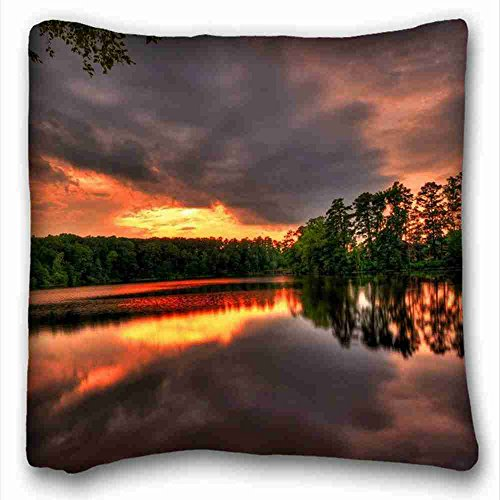 Custom Cotton & Polyester Soft ( Nature sky lake Trees sunset ) Custom Zippered Pillow Case 16x16 inches(one sides) from Surprise you suitable for King-bed PC-Bluish-10093 ()