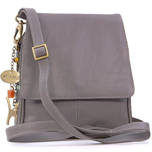 cuir type Catwalk Collection Sac en Gris signé besace