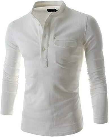 MU CHAOHAI Camisas Henley de Estilo Breve para Hombre Camisa Casual de Botón de Manga Larga de Color Sólido: Amazon.es: Ropa y accesorios
