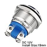 uxcell LED Indicator Light DC 12V 19mm Blue Metal