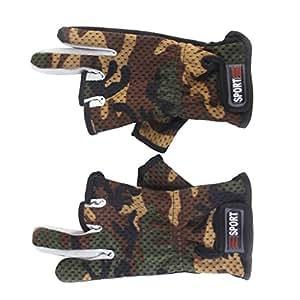 Antideslizante Friccion Palm 3 Dedos De Corte Bajo De Pesca Guantes 1 Par De Camuflaje