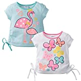 Gerber Graduates Baby Girls' Toddler 2pk Combo Top, Butterfly/Flamingo, 5T