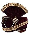 INMONARCH Mens Beautiful Zari Work Turban Pagari Safa Groom Hats TU1086 23-Inch Maroon