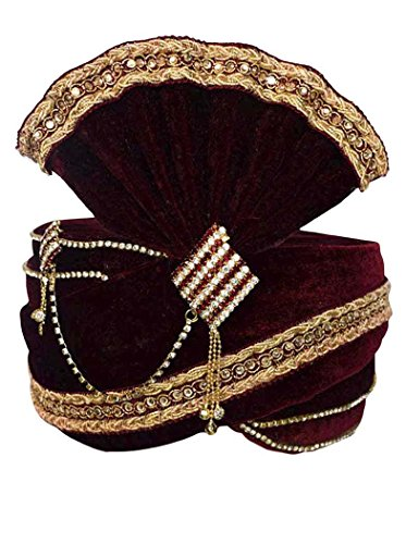 INMONARCH Mens Beautiful Zari Work Turban Pagari Safa Groom Hats TU1086 23-Inch Maroon by INMONARCH