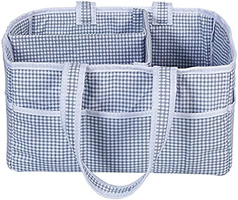 Blue Star, XL DOKEHOM DKA0641BSXL X-Large Baby Diaper Caddy Organizer with Leather Handle Multifunctional Nappy Storage Nursery Bin Basket with Removable Compartments