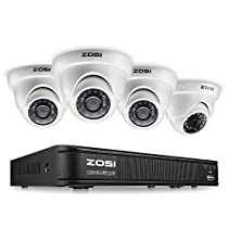 ZOSI FULL HD 1080p Outdoor Surveillance System,4 Channel CCTV DVR Recorder,4 x 1080p Outdoor/Indoor Dome Security Camera Outdoor with Night Vision (Smartphone & PC Easy Remote Access)-No Hard Drive