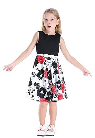 e97dc9e9c83d Amazon.com: Bow Dream Little Girls Vintage Floral Swing Dresses ...