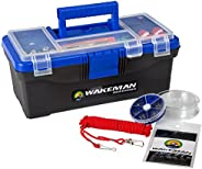 Fishing Single Tray Tackle Box- 55 Piece Tackle Gear Kit Includes Sinkers, Hooks Lures Bobbers Swivels and Fis