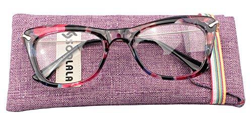 SOOLALA Womens Fashion Designer Cat Eye Eyeglasses Frames with Metal Arms (Blue Floral, 1.75)