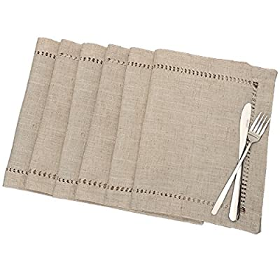 Grelucgo Handmade Hemstitched Table Placemats, Rectangle 12x18 Inch Set of 6, Natural Color - Hand hemstitched natural color 50% linen, 50% polyester Machine washable - placemats, kitchen-dining-room-table-linens, kitchen-dining-room - 51ZiWahRSML. SS400  -