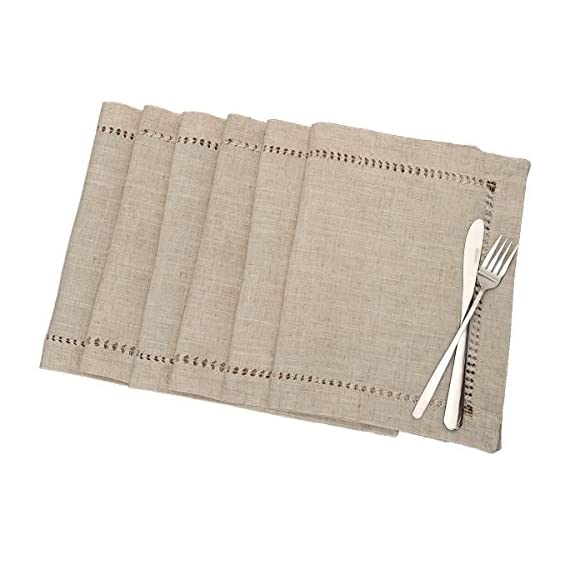 Grelucgo Handmade Hemstitched Table Placemats, Rectangle 12x18 Inch Set of 6, Natural Color - Hand hemstitched natural color 50% linen, 50% polyester Machine washable - placemats, kitchen-dining-room-table-linens, kitchen-dining-room - 51ZiWahRSML. SS570  -