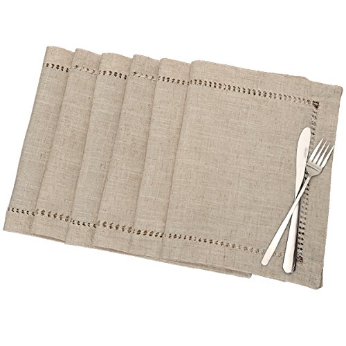 Grelucgo Handmade Hemstitched Table Placemats, Rectangle 12x18 Inch Set of 6, Natural Color