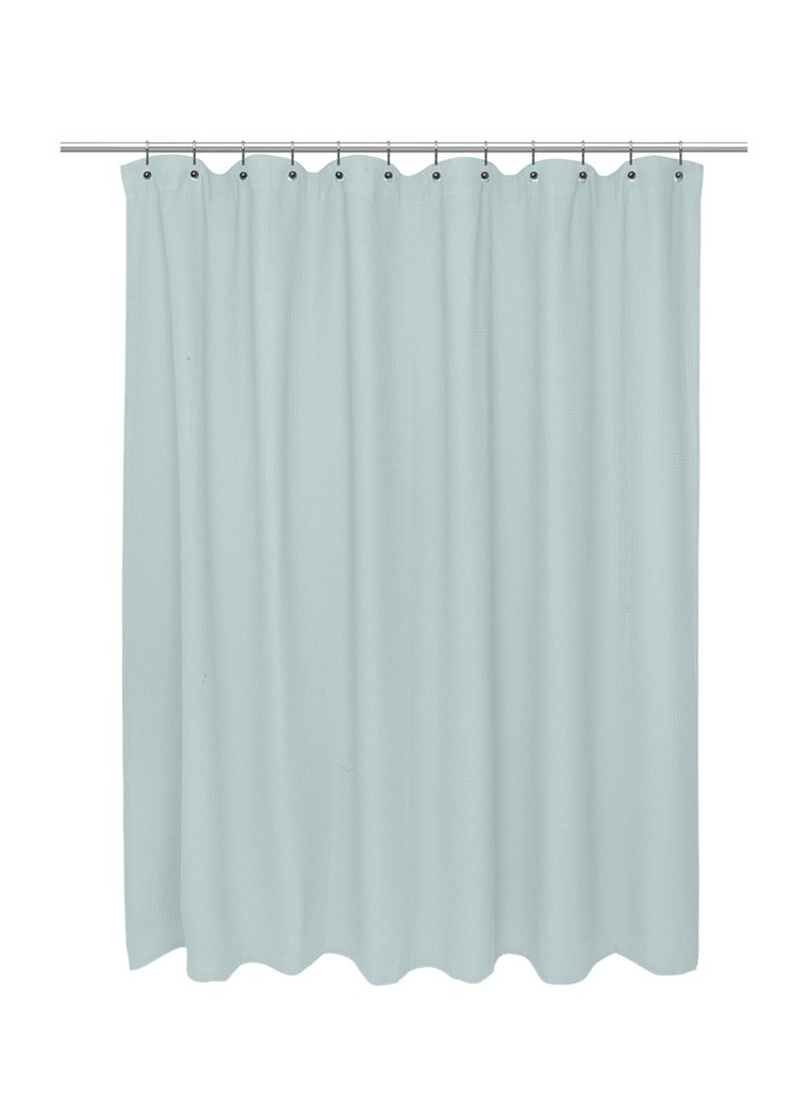 carnation waffle weave 100 cotton shower curtain 72 inch x 84 inch spa blue new ebay. Black Bedroom Furniture Sets. Home Design Ideas