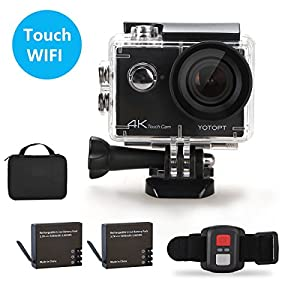 4K Touch Screen Action Camera- YOTOPT S350 2 Inch LCD Sport Camera Camcorder 16MP 30 M waterproof Remote Control DV with Dual Rechargeable 1050mAh Batteries Portable Package (2017 New Design)
