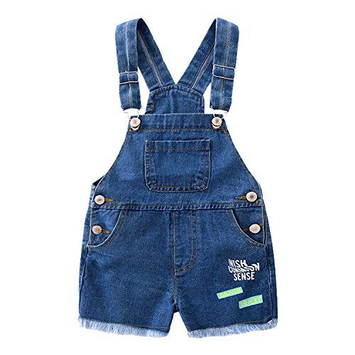 Evelin LEE Kids Boys Girls Cute Adjustable Denim Bibs Soft Shorts Overalls ()