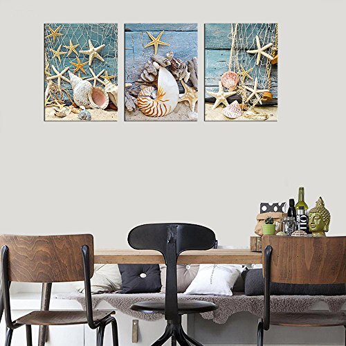 Canvas Wall Art Starfish Shell Fishing Net Stone on Beach Sands - 3 Pieces Contemporary Pictures Canvas Painting Modern Artwork for Home Decoration Framed Ready to Hang Blue Themes