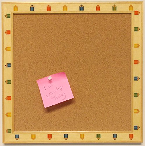 Cork Board Tack Board Overall Size 14x14 with Colored Pencil Wood Inlay by Photo Frame Ready