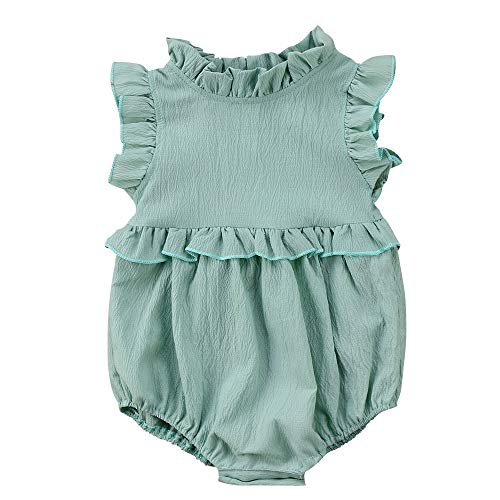 - Moolia Infant Baby Girl Lightweight One-Piece Summer Ruffles Romper Clothing Sunsuit (100(18-24M), Green)