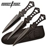 Perfect Point TK-017-3B Throwing Knife Set with Three Knives, Black Blades, Steel Handles, 7-1/2-Inch Overall