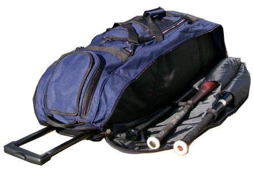 MAXOPS Catchers Bag in Solid Navy Blue Cobra XL III Three Wheels Softball Baseball Bat Equipment Roller -