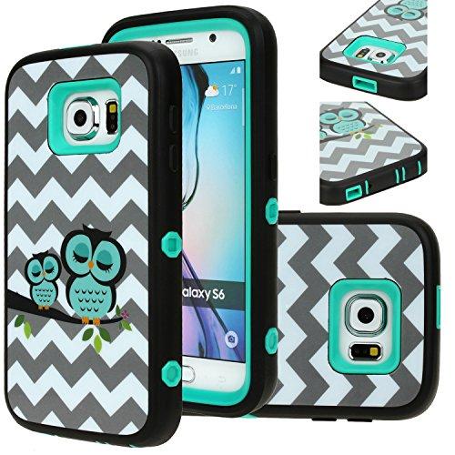 Galaxy S6 Case, E LV Samsung Galaxy S6 Case Full Body Hybrid Armor Protection Defender Case Cover - Dual Layer Armor Protective Case Cover for Samsung Galaxy S6 - [OWL] (Owl Phone Case For Samsung Galaxy)