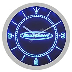 Bud Light Beer Neon Sign Bar Wall Clock - Blue