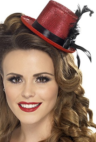Smiffy's Women's Mini Top hat, Red, One Size, (Black Top Hat Headband)