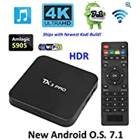 TX3 PRO TV Box, New Android 7.1 System, Newest Kodi Build, Amlogic S905X KD, WiFi/LAN 1GB/8GB