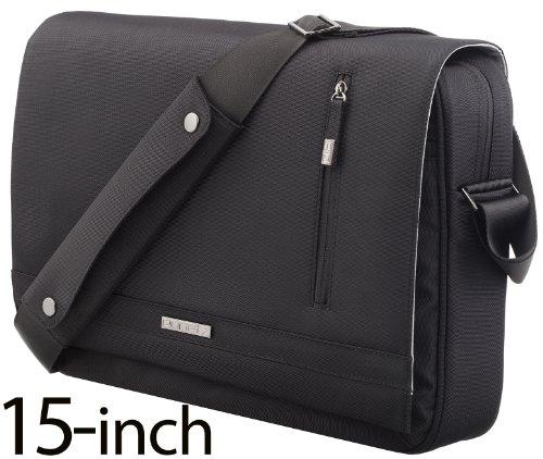 (Messenger Bag, Runetz Laptop Bag 15 inch MacBook Satchel Bag for Men & Women - BLACK)