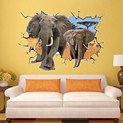 Milly Animal (MILLY-US 18 Elephant Wall Sticker - 1 Piece Cute Elephants Animal Removable 3D Visual DIY Wall Stickers Home Decor Bedroom Living Room Decal Vinyl Mural Wall Stickers)