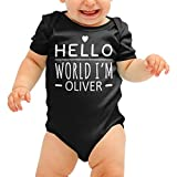 FunkyShirt Personalised Babygrow Hello World Im Your Name Cute Baby Suit Grow Body Romper Boys Girls Shower Gift