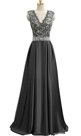 QSYE Womens Lace Beaded Prom Dresses Long Evening Formal Gowns Black,2