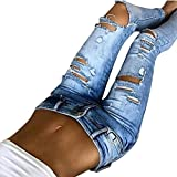 Leedford Ripped Holes Jeans,Women's Mid Waist Destroyed Ripped Hole Stretch Denim Skinny Jeans Distressed Trousers (M, Blue 4)