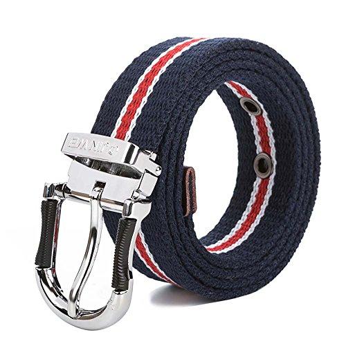 [Men's Canvas Web Belt Metal Pin Buckle 1.3