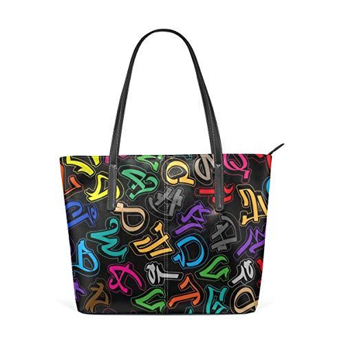 Colorful Graffiti Alphabet Fashion Leather Tote Shoulder Bags Handbags for Women Girls