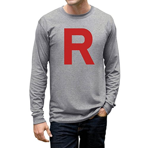 TeeStars Men's - Rocket Inspired Long Sleeve T-Shirt X-Large Grey (Jessie From Team Rocket)