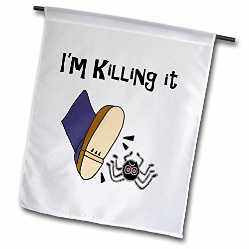 - 3dRose All Smiles Art Funny - Funny Shoe Stomping Spider says Im killing it - 12 x 18 inch Garden Flag (fl_252608_1)