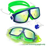 Kids Swimming Goggles Child (Age 3-12) Waterproof Swim Goggles W Clear Vision Anti Fog UV Protection No Leak Soft Silicone Frame and Strap with case and earplugs for Kids Boys Girls (blue green)