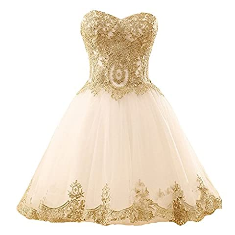 Short Gold Lace Tulle Knee Length Corset Prom Homecoming Cocktail Dresses Ivory US 2