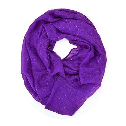 Solid Color Soft Infinity Loop Scarf with Glitter (Purple) - Glitter Scarf